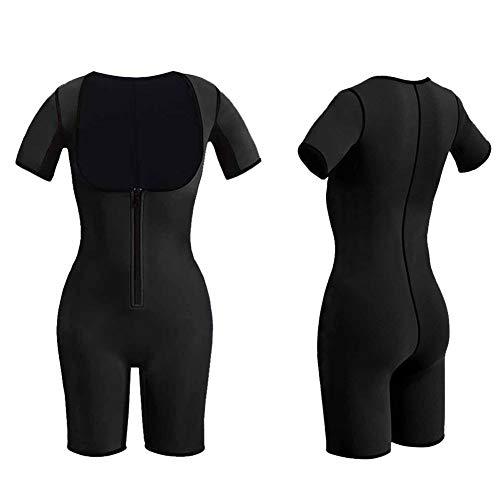 Q&M Mujer Lleno Escultor De Cuerpo Neopreno Rutina De Ejercicio Elástico Delgado Sauna Suit Body,Negro,L