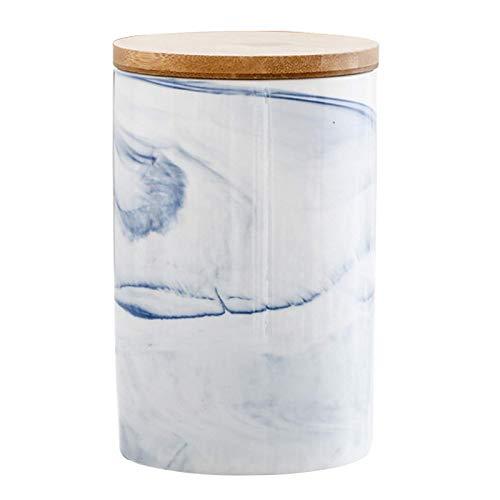 Tarro de cerámica para Almacenamiento de Alimentos, Botes de Cocina con Estampado de mármol y Tapa de bambú con Sello hermético, Bote de Almacenamiento de Alimentos para Servir café, Chocolate, Galle