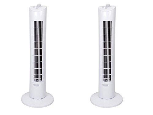 Lot de 2 ventilateurs colonne 60 W avec 3 niveaux, minuteur, oscillant, hauteur 79 cm