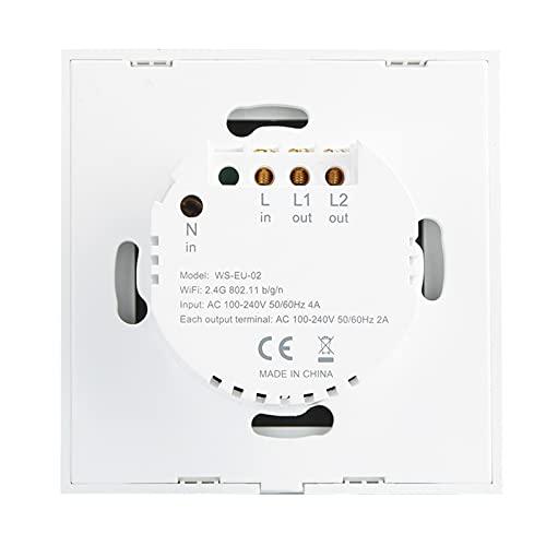 Interruptor táctil de Pared Interruptor WiFi Interruptor de Control Remoto Inteligente App para Dormitorio(BAI GAI 2 Road, Transl)