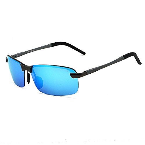 RONSOU Uomo UV400 Senza Montatura Alluminio-Magnesio Polarizzati Occhiali da Sole per Guida Pesca Golf All'aperto grigio telaio/blu lente