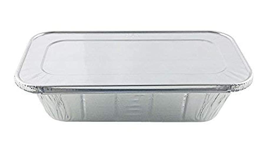 Handi-Foil of America Hfa 1/3 Third-Size Deep Aluminum Foil Steam / 5 lb Loaf Pan w/Foil Lids (Pack of 50 Sets)