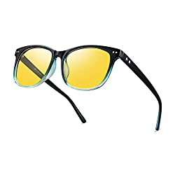 cheap Driving Night Vision Glass Polarized Anti-Glare Transparent Sunglasses Fashion Men and Women (Blue)