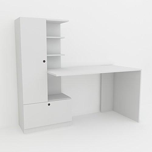 Alphamoebel moebel17 4975 Domingos Schreibtisch Computertisch Arbeitstisch Bürotisch Laptoptisch PC Tisch Kinderschreibtisch, Holz, Weiß, mit Regal, 149,5 x 61,8 x 73,8 cm