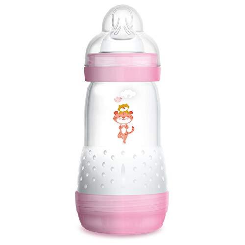 MAM Biberón Easy Start Anti-Colic A121, Biberón Anticólicos patentado con Tetina de Silicona SkinSoftTM ultra suave, 260ml, para Bebés a partir de 2 meses, Rosa, 1 unidad, Autoesterilizable en 3 min