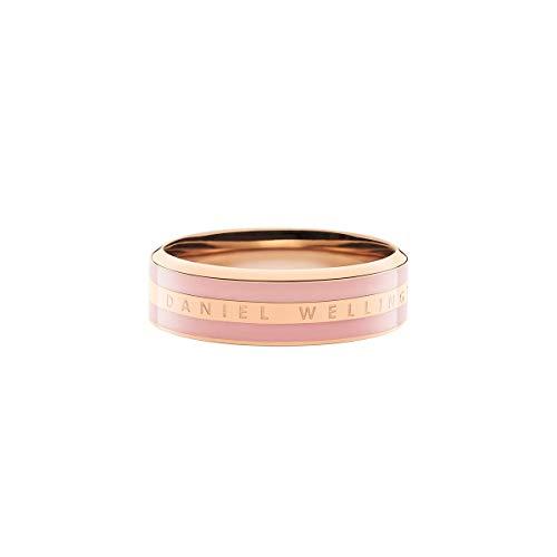 Anillo Clásico Dusty Rose en Oro Rosa, Acero Inoxidable con Esmalte y Logotipo Grabado, para Hombre y Mujer