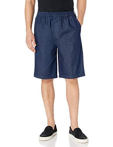Benefit Wear Mens Full Elastic Waist Pull-On Shorts with Mock Fly (M, Denim)