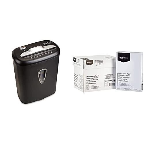 Amazon Basics - Hochsicherheits-Kreuzschnitt-Aktenvernichter für 7-8 Blätter, für Papier und Kreditkarten & Druckerpapier, DIN A4, 80 g/m², 5x500 Blatt, Weiß