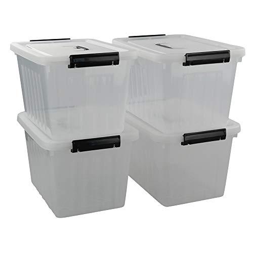 Ikando 13 L Cajas Contenedor de Plástico Almacenaje con Asas y Tapas, Transparente, 4 Unidades,