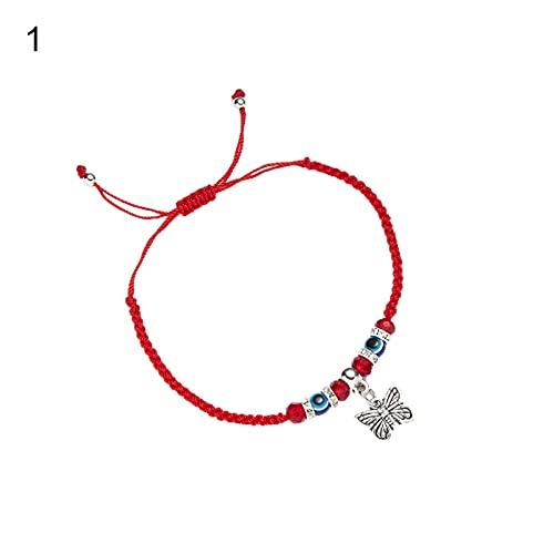 Sonoaud Pulsera unisex resistente al desgaste hecha a mano para mujer, hombre, cuerda de mariposas, colgante simple compatible con exteriores, Acrílico, aleación.,