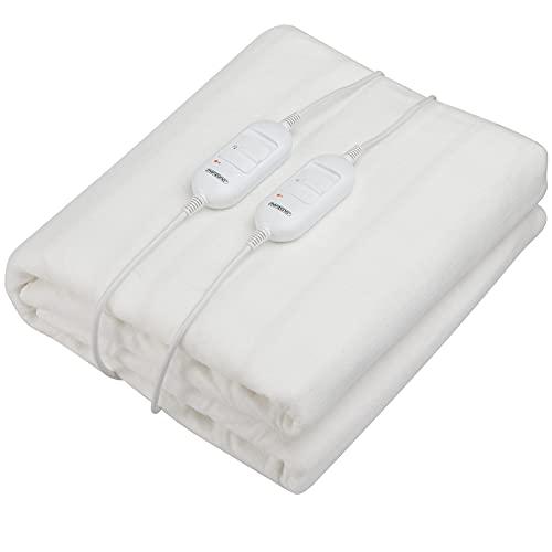 2-Zonen Heizdecke 160x140cm 2 Stufen waschbar Wärmeunterbett Wärmebett Bettheizung