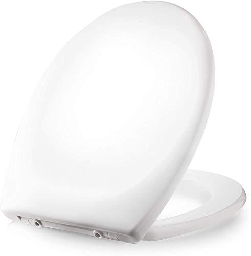 Dombach® Kaiana Premium Toilettendeckel - der antibakterielle WC-Sitz mit Softclose/Absenkautomatik - Toilettensitz abnehmbar - Klodeckel aus Duroplast und Rostfreiem Edelstahl - klassisch weiss