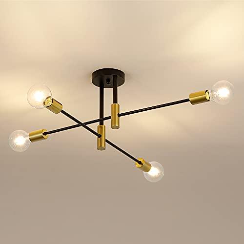Osairous Lámpara de Techo Sputnik, E27 Luces de Techo de Diámetro 60 cm, 4 Brazos Plafón de ángulo Ajustable 180° para Living Comedor Loft, Bombilla no Incluida
