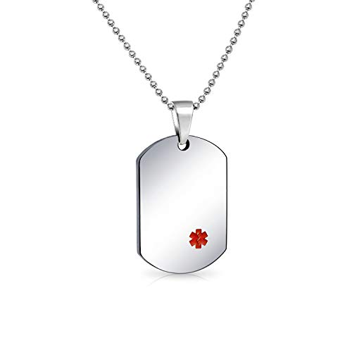 Bling Jewelry Unisex Personalizza Personalizzabile identificazione Medica Medici Allarme Medico ID Cane Etichetta Acciaio Collana Pendente per Uomo Donna Catena da 20 Pollici SM