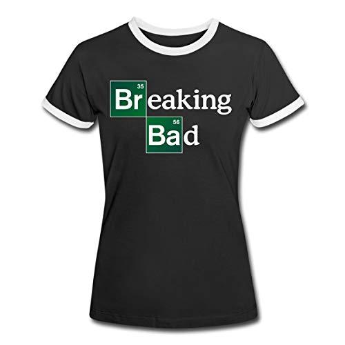 Breaking Bad Logo Brom & Barium Frauen Kontrast T-Shirt, L, Schwarz/Weiß