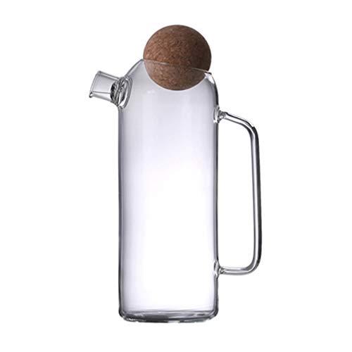 PIXNOR Tetera de Vidrio Tetera con Tapa Tapón de Corcho Jarra de Agua Fría Caliente Jarras de Agua Resistentes Al Calor para Jugo Jarro de Bebida Té Helado Transparente 1200Ml