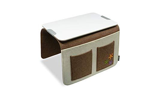 Sofa Butler Carry mit 4 Taschen Ablageplatte braun-Weiss 201040202-HE