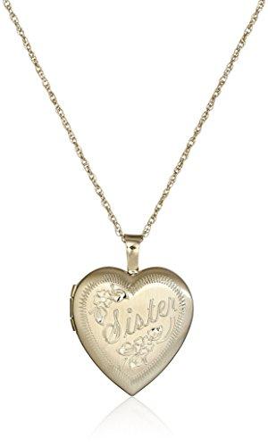 14k Gold-Filled Hand Engraved Heart Sister Locket Necklace