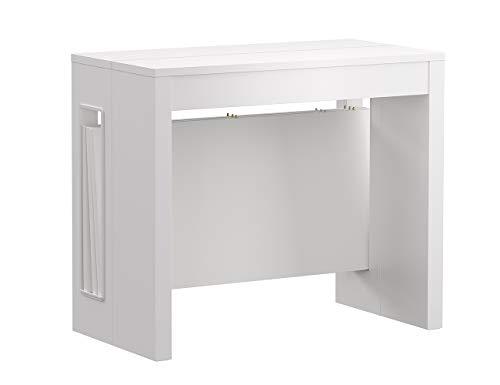 Iconico Home ZOOM, Tavolo consolle allungabile con 3 prolunghe fino a 182 cm, Ingresso, Soggiorno, Sala da Pranzo, 90x47xh76 cm, Bianco opaco