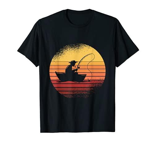 Herren Angler Sonnenuntergang Fischer Angel Geschenk T-Shirt