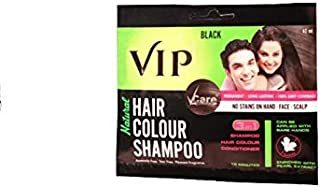 VIP Hair Color Shampoo for Men & Women - Easy application for Hair, Beard, Chest & Moustache without Glows & mixing (40 ml...