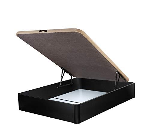 DHOME Canape Abatible Tapizado 3D 4 válvulas Maxima Calidad Esquinas canapé Madera (150x190 Negro, 22mm)