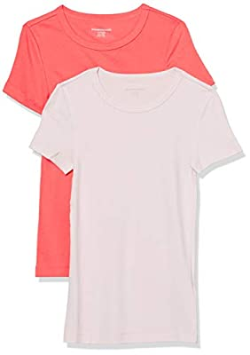 Amazon Essentials Women's 2-Pack Slim-Fit Short-Sleeve Crewneck T-Shirt, Coral/Light Pink, XX-Large