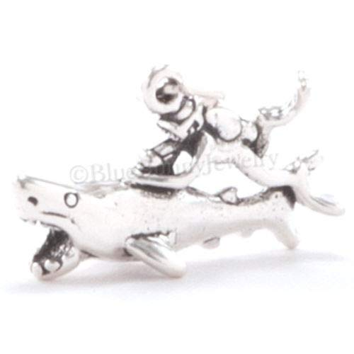 OutletBestSelling Beads Bracelet Scuba Diver Charm Pendant Great White Shark Diving Charm Sterling Silver 3D