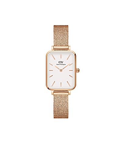 Daniel Wellington Reloj Quadro Melrose, Pulsera de malla de oro rosa, 20x26mm, Oro rosa/concha de...