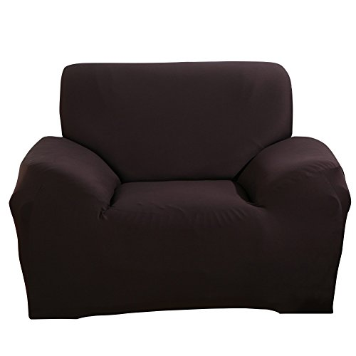ele ELEOPTION Sofa Überwürfe Sofabezug Stretch elastische Sofahusse Sofa Abdeckung in Verschiedene Größe und Farbe Herstellergröße 95-140cm (Dunkelbraun, 1 Sitzer für Sofalänge 90-130cm)