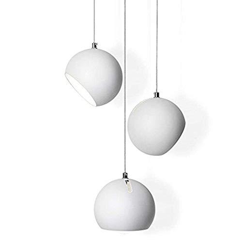 Lampadario a sospensione moderno e minimalista, rotondo, bianco, 3 luci, creativo, in metallo, con paralume, design artistico, per soggiorno, sala da pranzo, studio, E27, max. 40 W, Ø 15 cm