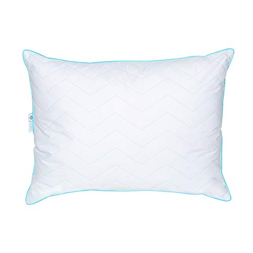 SOGNARE Premium Hypoallergenic Firm Bed Pillow - Quality Cotton, Soft Gel Microfiber Filling. The Best Balance Between Firmness & Softness. Never Loses its Shape. - Queen Size