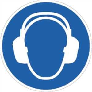 Stickers gehoorbescherming gebruiken volgens ISO 7010 folie 2 cm Ø 10 pictogrammen