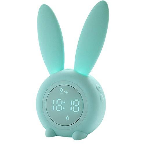 FPRW wekker met nachtlampje, hazenvorm, multifunctioneel display met nachtlampje, wekker met slaaptrainer voor kinderen, groen (6,9 x 3,7 x 2,55 inch)