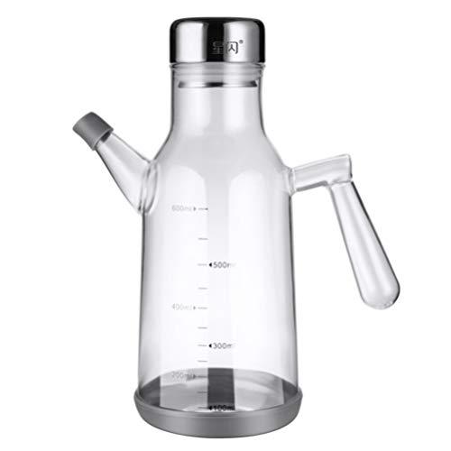 YARNOW Dispensador de Aceite de Oliva Botella de Aceite de Vidrio de 600Ml Bote de Aceite Jarra Decantador para Restaurante Cocina Cocinar Grasa de Aceite de Freír
