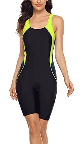 beautyin Women's Athletic One Piece Swimsuit Long Boyleg Racerback Swimwear M Yellow/Black