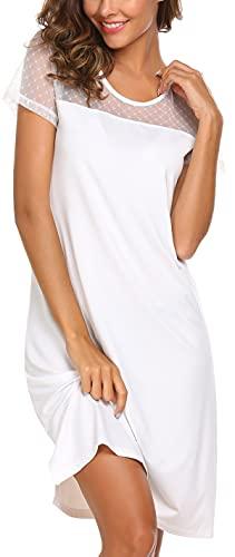 Meaneor Damen Nachthemd Spitze Kurzärmeliges Kurz Nachtkleid Sommer Nachtshirt Sexy Schlafshirt mit Spitze Weiß XL