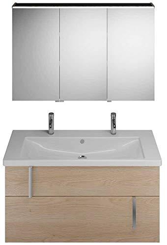 Burgbad Eqio set, SFAO123L, bestaande uit spiegelkast versie links, keramische dubbele wastafel met 1 wastafel en badmeubel, breedte: 1230 mm, Kleur (voorzijde/karkas): Eikenhouten decor kasjmier / Eikenhouten decor kasjmier, handvat chroom G0157 - SFAO123LF3180G0157