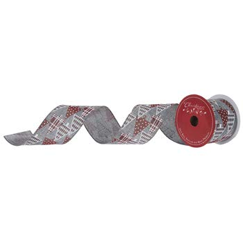 Gray Red and White Christmas Trees Wired Edge Ribbon 2 1/ inch