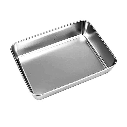 Bandeja de horno extensible para horno, bandeja de horno de acero inoxidable, rectangular, bandeja de horno para hornear, bandeja de horno con antiadherente 25 x 30 cm