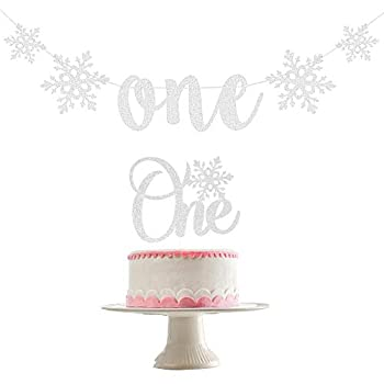 Snowflake One Banner and Snowflake One Cake Topper- Winter Onederland 1st Birthday Decorations Snowflake Banner Winter Onederland Banner Snowflake Birthday Decorations Winter Onederland Cake Topper(Silver Glitter)