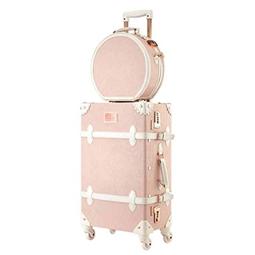 Mdsfe Retro 26 inch Spinner Rolling Luggage Set Cute pink Travel Bag Trolley Women Suitcase Wheels Vintage Cabin Trunk - pink a set, 26'