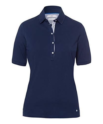 BRAX Damen Style Cleo Finest Pique Stretch Poloshirt, Blau (Indigo 23), (Herstellergröße: 42)