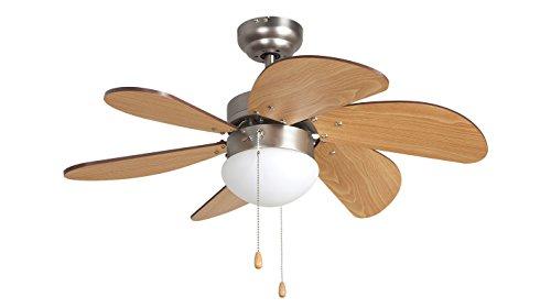 Orbegozo CP 15075 N - Ventilador de techo con luz, 3 velocidades, 6 aspas de madera, sistema de ventilación reversible, 50 W