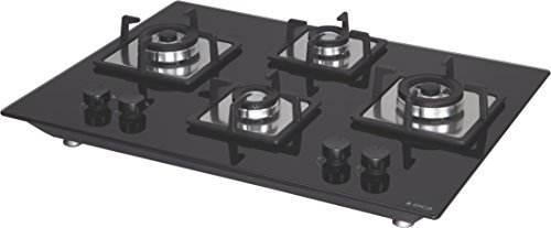 Elica Hob 4 Burner Auto Ignition Glass Top - 2 Double Ring Brass Burner and 2 Mini Triple Ring Brass Burner Gas Stove (Flexi Brass Hct 470 Dx)