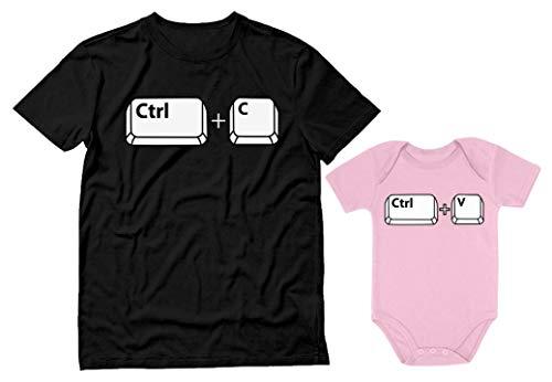 "Conjunto de macacão para meninos e meninas com estampa ""Copy Paste"" para Papai e bebê, Dad Black / Baby Pink, Dad Large / Baby NB (0-3M)"