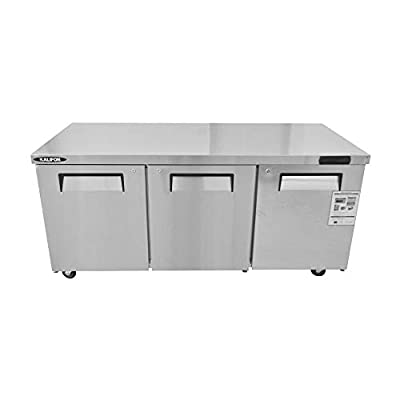kalifon Commercial Undercounter Freezer 20 Cu. Ft Stainless Steel Worktop Freezers with Three Solid Door for Kitchen Restaurant, with Lift Gate