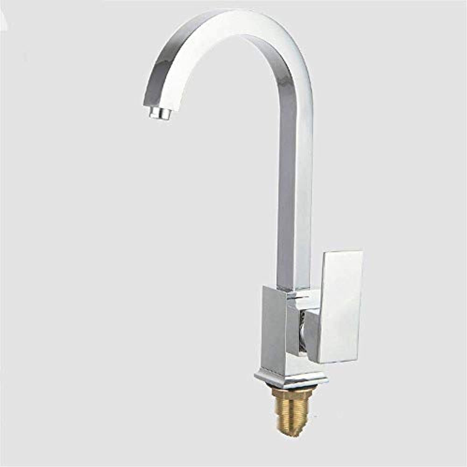 Copper Kitchen Faucet Cold and Hot Water Mixer Kitchen Sink Faucet Thickened Plated Square Single Handle Rotatable