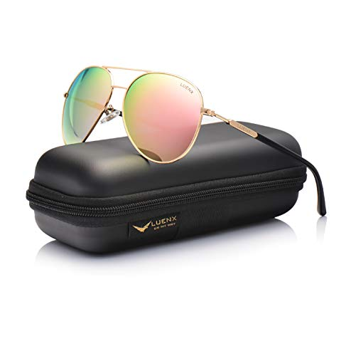 Aviator Sunglasses for Womens Polarized Pink Mirror by LUENX  UV 400 Protection Gold Frame 60mm