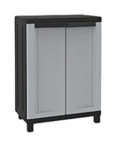 Terry, Twist Black 680, Armario 2 Puertas, 1 Estante Interno, Gris/Negro, 68x39x91,5 cm